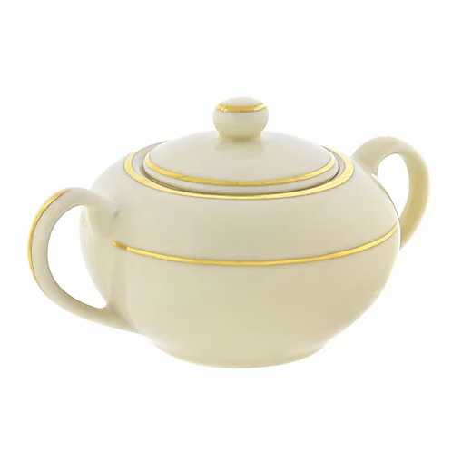 Ivory Double Gold Rimmed Sugar Bowl
