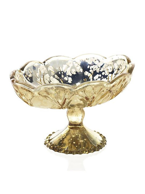Oval Gold Mercury Floral Bowl