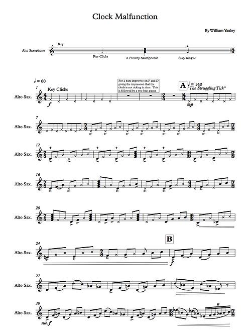 Clock Malfunction (Soprano or Alto Sax)