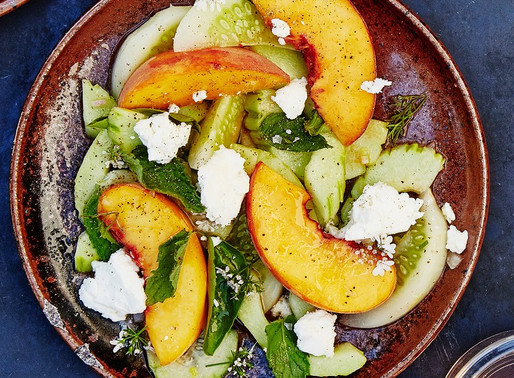 Cucumber Peach Salad with Herbs