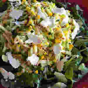 Summer squash slaw with feta and toasted buckwheat