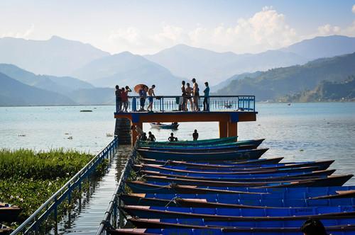 Reflections of the Himalayan range on Fewa Lake