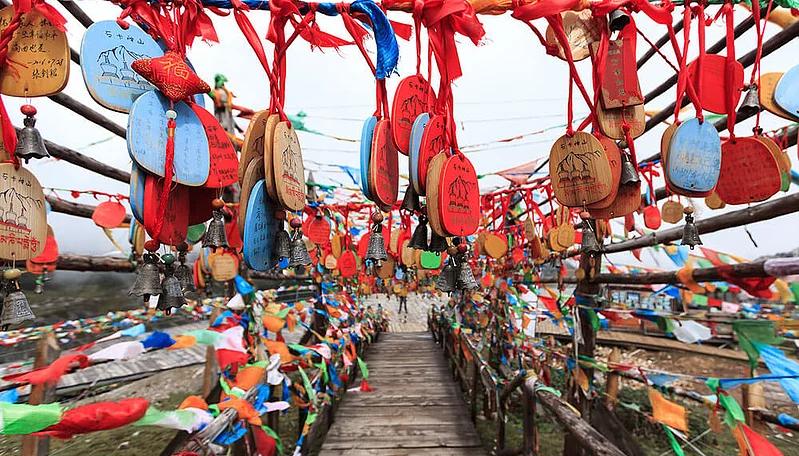 Experience Tibetan religion as you pass by Tibetan prayer flags