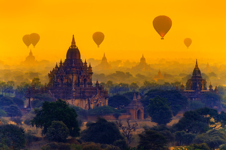 Glide above ancient temples atop a hot air balloon