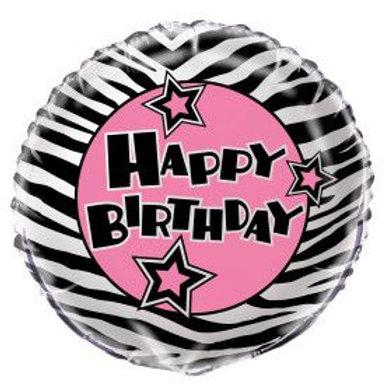 "Balloon Foil 18"" Happy Birthday Zebra Pink"