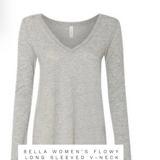 BELLA WOMENS FLOWY LONG SLEEVE V-NECK