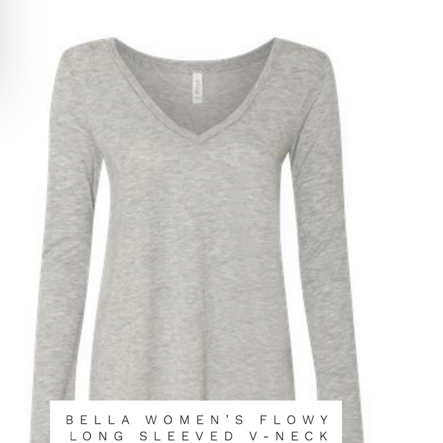 BELLA WOMENS FLOWY LONG SLEEVE V-NECK