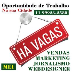 Oportunidade de Trabalho na web 11 99923-2580 Reizinho
