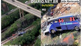 Ônibus cai de viaduto em MG na cidade de João Monlevade e já são 19 morreram no acidente.