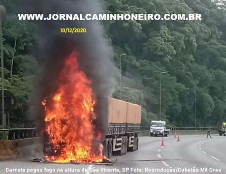 CARRETA PEGA FOGO NA SERRA DE SANTOS SP