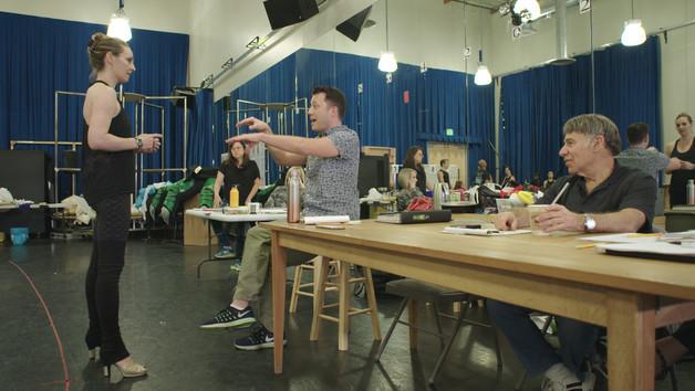 Shannon and John Tartaglia chat in rehearsal with Stephen Schwartz