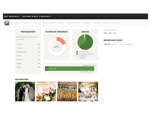 HBIC Weddings - Dashboard view