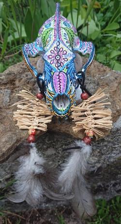 Crâne de blaireau décoré