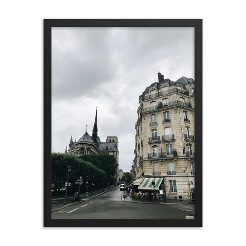 Notre Dame and french cafe Framed poster