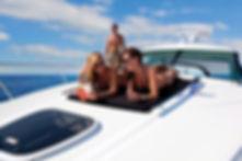two women enjoying a yacht
