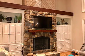 New Home in NC, TV installed on rock fireplace