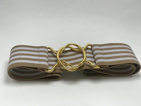 "2"" Tan & White Striped Interlocking"