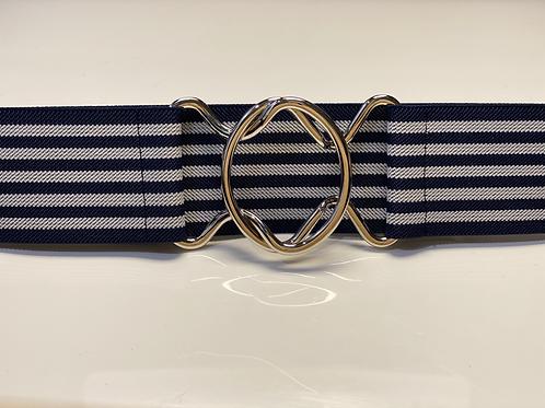 "2"" Navy & White Striped Interlocking"