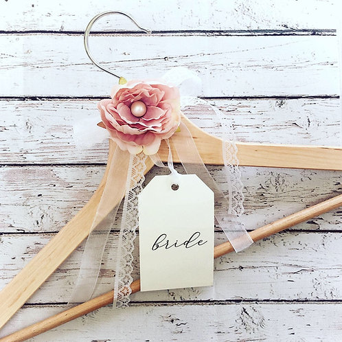 Personalised Bridal wedding dress hanger with bespoke tag and a beautiful boho dusty pink flower