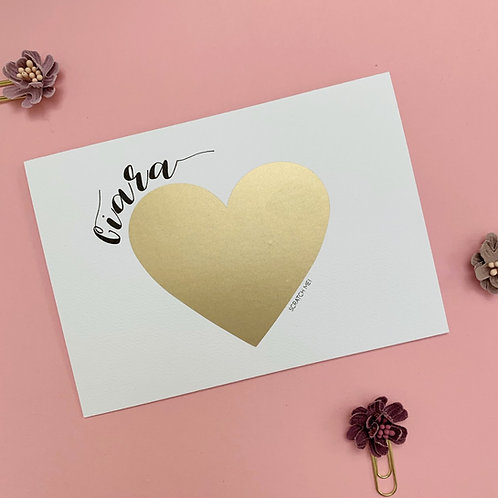 Scratch bridesmaid proposal greeting card with a golden heart