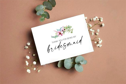 Personalised Thank you for being my bridesmaid/maid of honour card Ireland