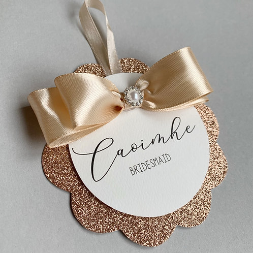 Glam Sparkly Glitter Personalised wedding hanger tag bride bridal party