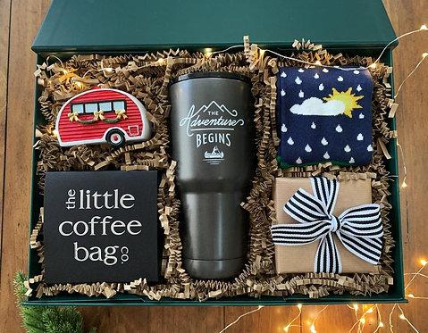 Irish Christmas Gift Box for Him with chocolate truffles, Irish socks, coffee gift box, travel coffee mug