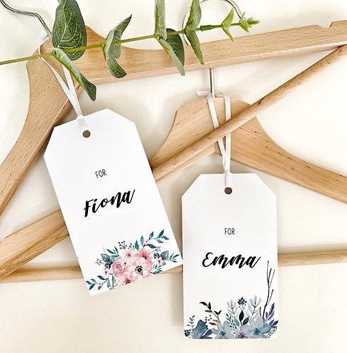Floral blue Personalised wedding hanger tag bride bridal party