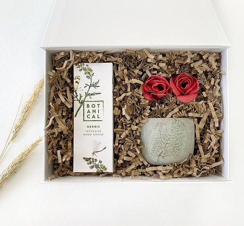 Gift Box for her with botanical natural hand cream, a natural soy candle with reusable ceramic pot and red rose petal soap