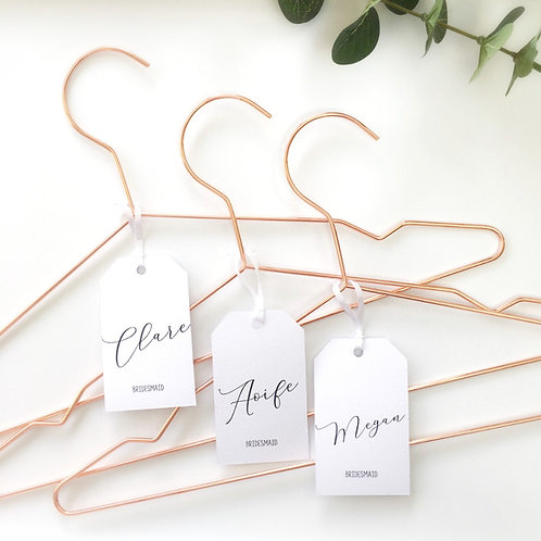 Bridal party rose metal hanger with a simple, elegant and personalised tag