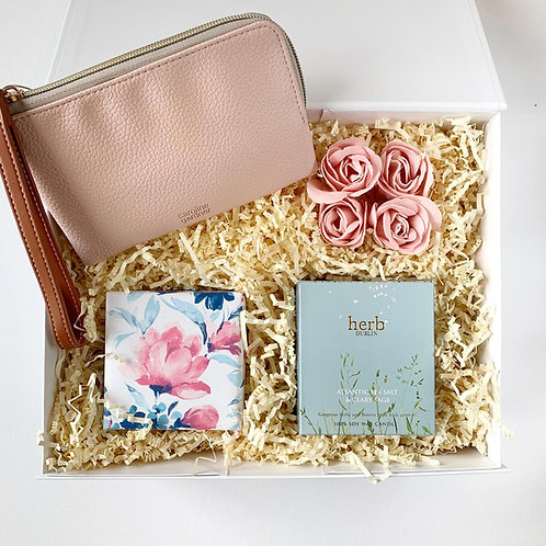 Birthday Gift Set for her with vegan leather purse, chocolate truffles,  Atlantic Sea Salt Soy candle and rose petal soaps