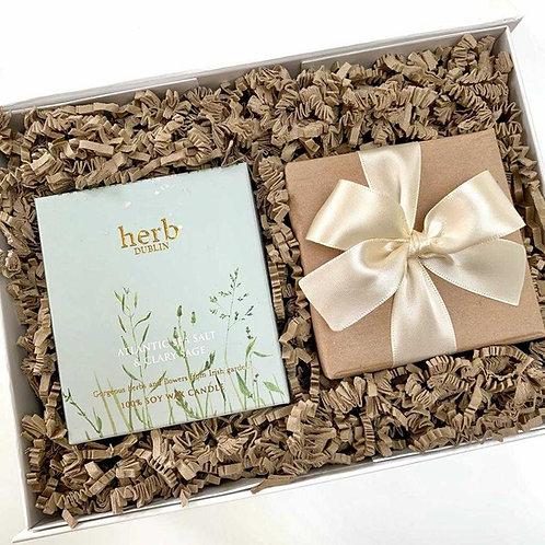 Hug in a Box Gift Box with Irish Botanicals wax candle and chocolate truffles