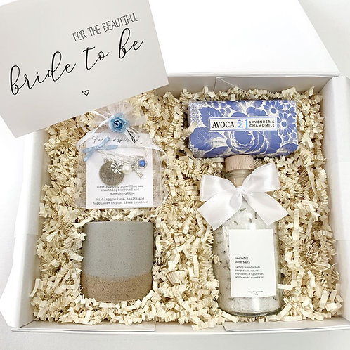 Something Blue Bride to be Gift Box with candle, lavender bath salts, Avoca Soap and bridal pin - Love in a Box