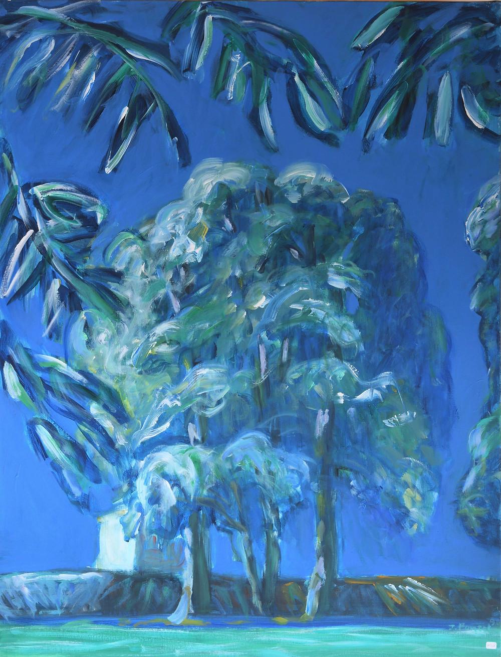 Jacques PONCET (1921-2012). Arbres et maison (série Les Jardins). Acrylique sur toile. 116x90 cm