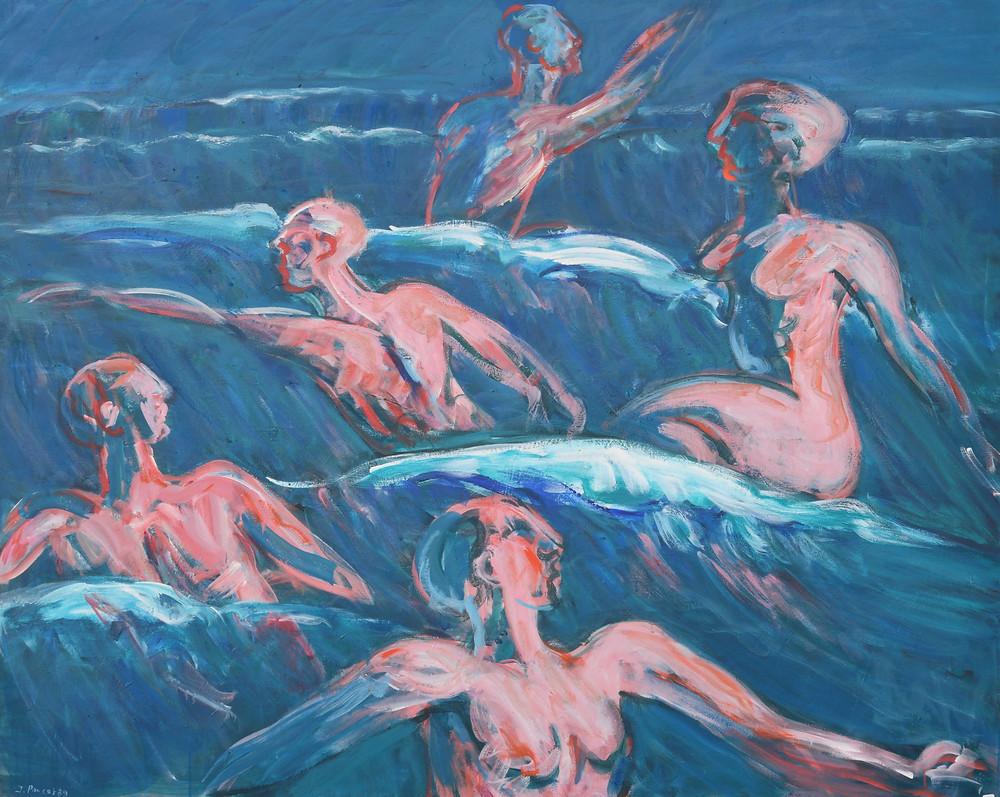 Jacques PONCET (1921-2012). Jeu dans les vagues. 1989. (Série les Baigneuses). Acrylique sur toile. 130x161 cm