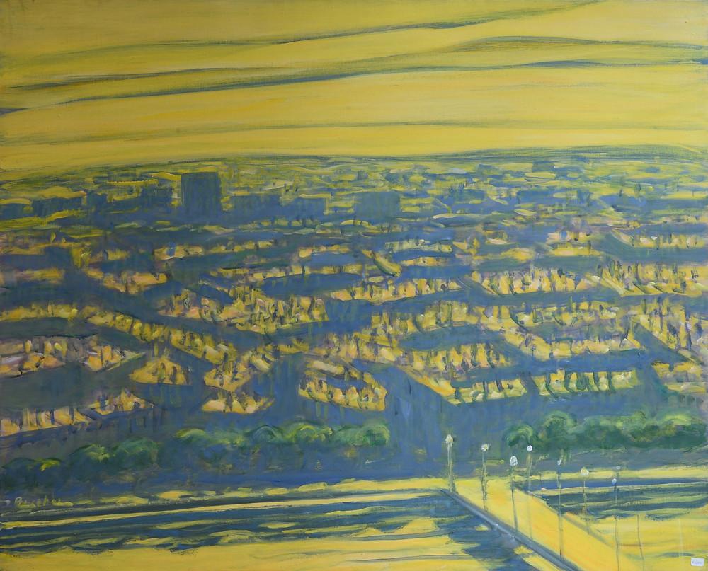 Jacques PONCET (1921-2012). Ville dorée (Série Lyon). Acrylique sur toile. 81x100 cm