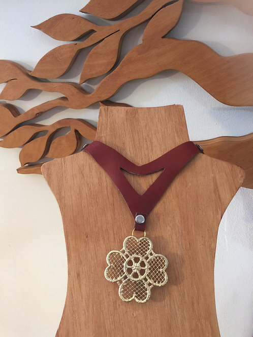 Russet Leather floral neckpiece