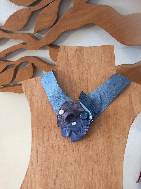 Denim Blue Leather Choker