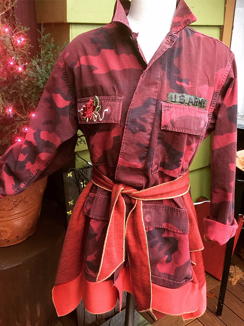 Upcycled Red Camouflage Army Fatigue