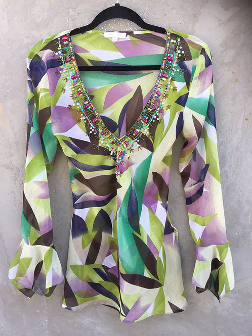 Green Modern Print Sequin Tunic