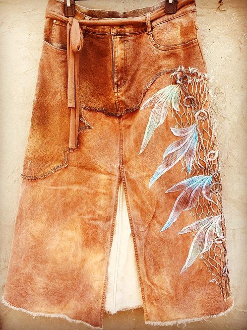 Rustic Brown Denim Skirt