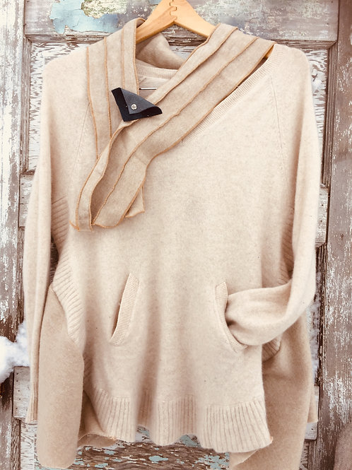 Winter White Scarved Cashmere Sweater