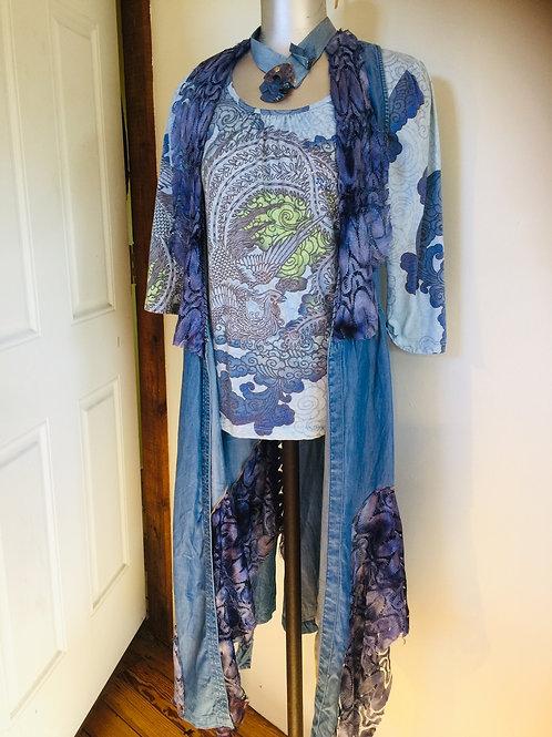Cotton Denim Upcycled Long Vest