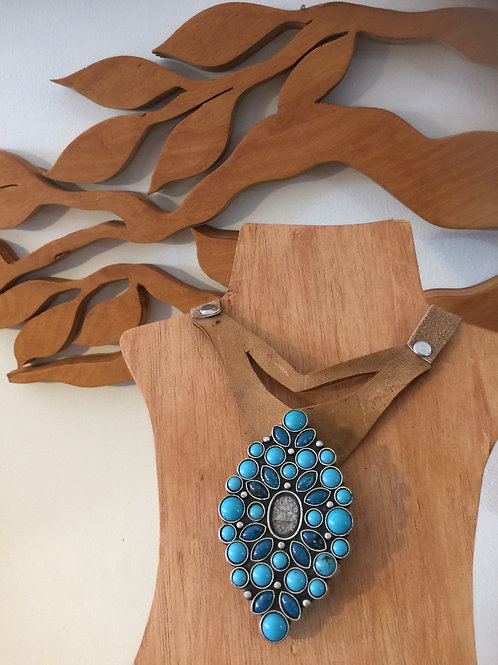 Turquoise and Leather Choker