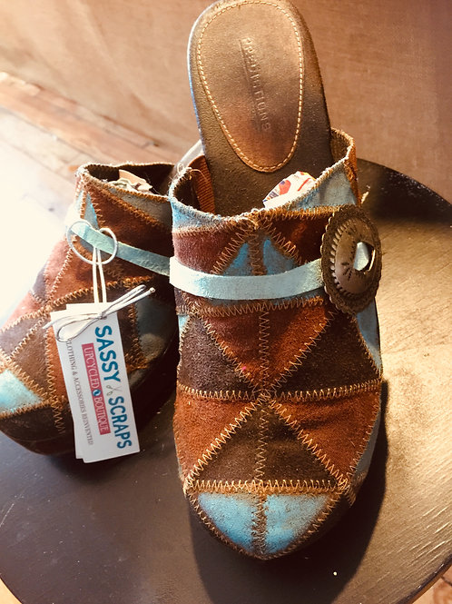 Painted Suede Mosaic Clogs