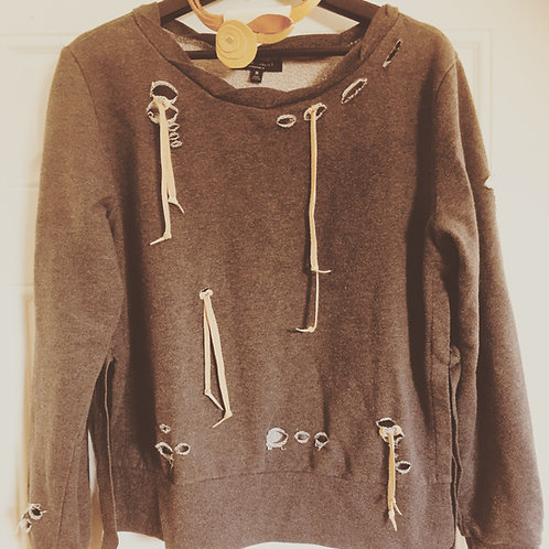 Upcycled Tattered and Leathered  Sweatshirt