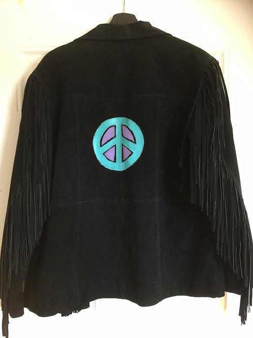 Fringed Black Suede Peace Coat
