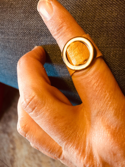 Yellow Ochre Leather Ring