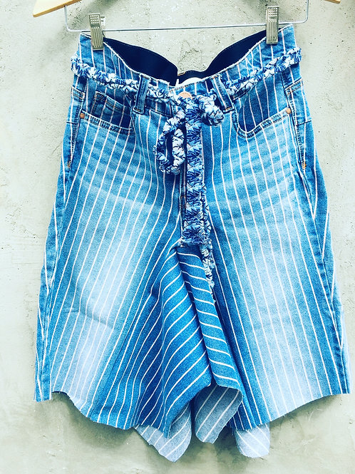 Upcycled Pinstripe Jean Skirt