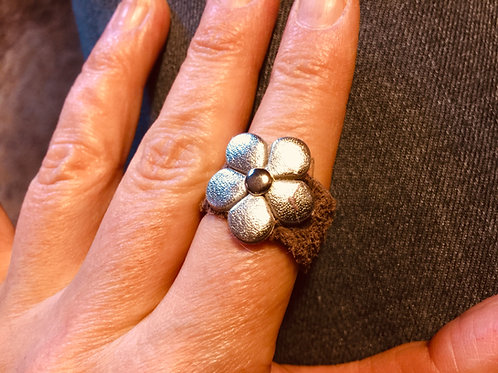 Silver Flower Leather Ring
